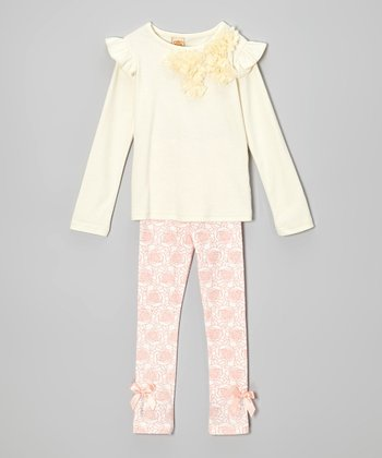 Crème Rosette Top & Pink Rose Leggings - Toddler & Girls