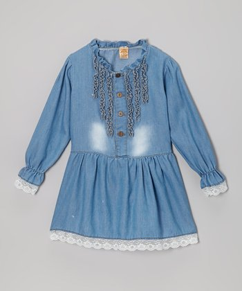 Denim Ruffle Lace-Trim Tunic - Toddler & Girls