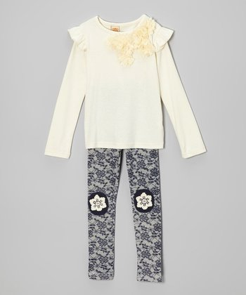 Crème Rosette Top & Blue Floral Lace Leggings - Toddler & Girls