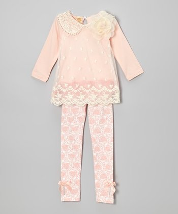 Pink & Crème Crochet Collar Top & Rose Leggings - Toddler & Girls