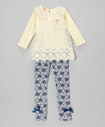 Crème Crochet Collar Top & Blue Rose Leggings - Toddler & Girls