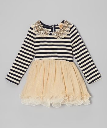 Navy & Crème Stripe Sequin Collar Tulle Dress - Toddler & Girls