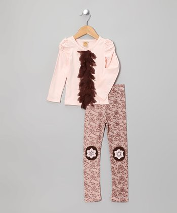 Pink Petal Top & Brown Floral Lace Leggings - Toddler & Girls