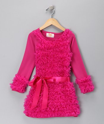 Hot Pink Ruffle Holiday Dress - Toddler