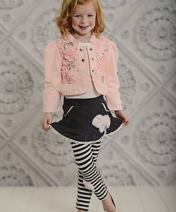 Pink & Gray Sequin Jacket & Skirted Leggings - Toddler