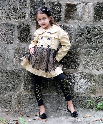 Beige & Black Skirted Trench Coat - Toddler & Girls