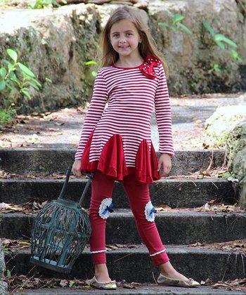 Red & White Stripe Bow Dress & Leggings - Toddler & Girls