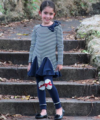 Navy & White Stripe Bow Dress & Leggings - Toddler & Girls