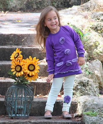 Purple Rosette Tunic & Crème Leggings - Toddler & Girls