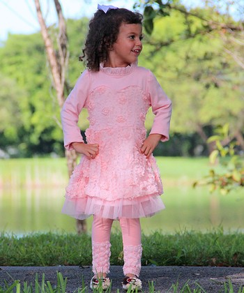 Pink Rosette Tulle Dress & Leggings - Toddler & Girls