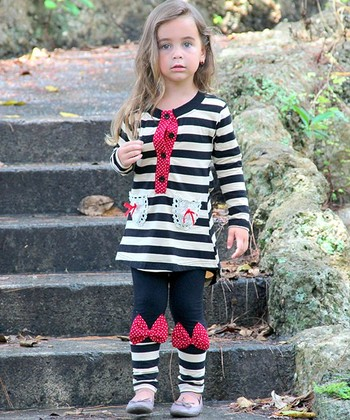 Black & White Stripe Tunic & Bow Leggings - Toddler & Girls