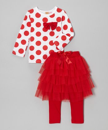 Red Polka Dot Top & Skirted Tutu Leggings - Toddler & Girls