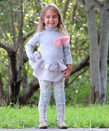Gray Ruffle Turtleneck Tunic & Floral Leggings - Toddler & Girls