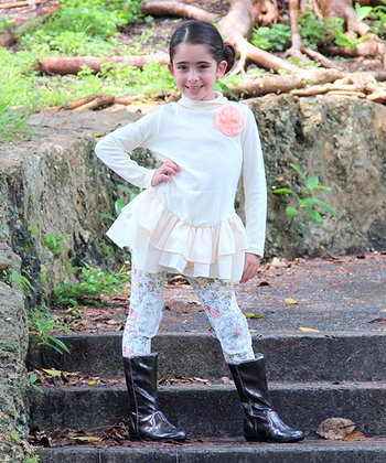 Crème Ruffle Turtleneck Tunic & Floral Leggings - Toddler & Girls
