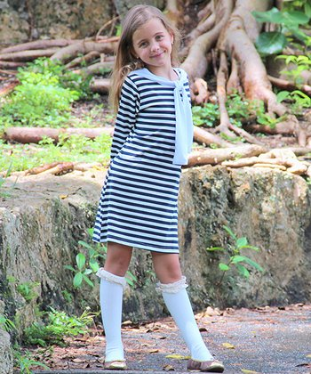 Navy & White Stripe Bandanna Dress & Knee Socks - Toddler & Girls