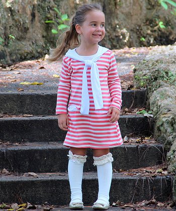 Pink & White Stripe Bandanna Dress & Knee Socks - Toddler & Girls