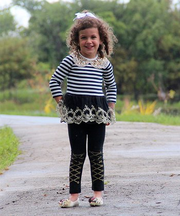 Black & White Stripe Sequin Collar Dress - Infant & Toddler