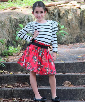 White & Red Stripe Floral Ruffle Dress - Toddler & Girls