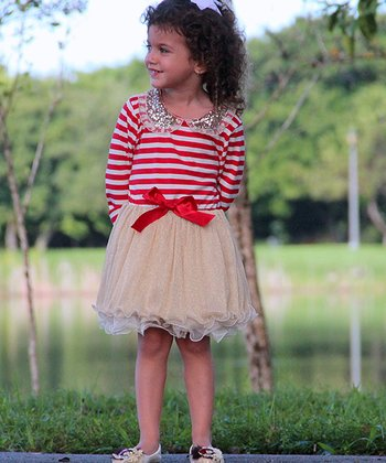 Red & Crème Stripe Sequin Collar Tulle Dress - Toddler & Girls
