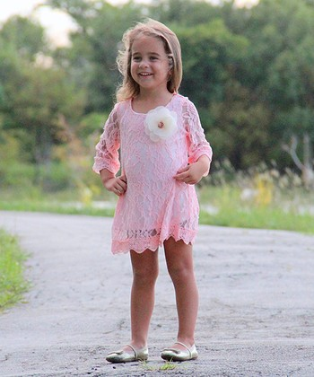 Pink Lace Crocheted Shift Dress - Toddler & Girls