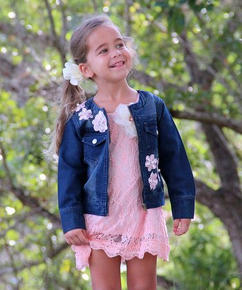 Dark Wash Crocheted Flower Denim Jacket - Girls