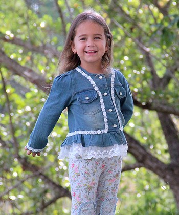 Light Wash Lace-Trim Denim Jacket - Toddler