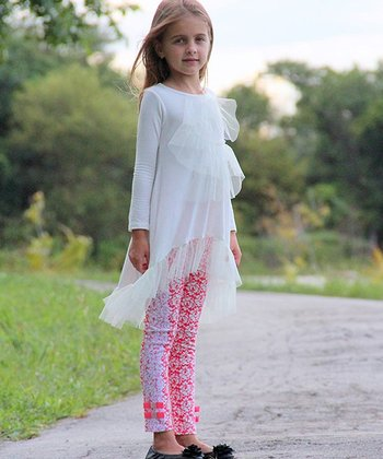 Crème Tulle Tunic & Pink Rose Lace Leggings - Toddler & Girls