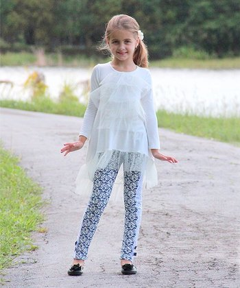 Crème Tulle Tunic & Navy Rose Lace Leggings - Toddler & Girls