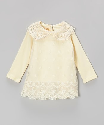 Crème Crocheted Collar Top - Toddler & Girls