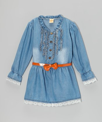 Blue Ruffle Belted Denim Tunic - Toddler & Girls