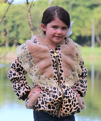 Tan Dalmatian Faux Fur Lace Collar Jacket - Toddler & Girls