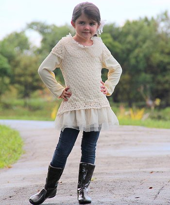 Crème Crocheted Collar Ruffle Tunic - Toddler & Girls