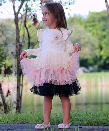 Crème & Pink Tiered Dress - Toddler
