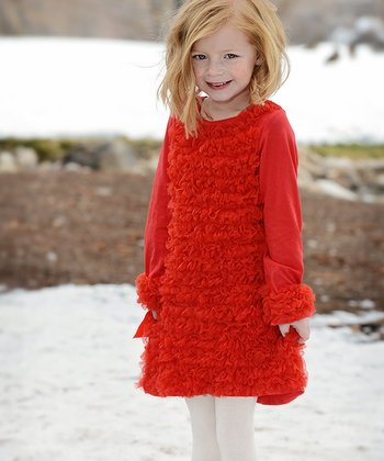 Red Ruffle Holiday Dress - Toddler & Girls
