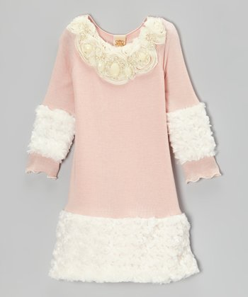 Pink & Crème Pearl Minky Rosette Dress - Toddler & Girls