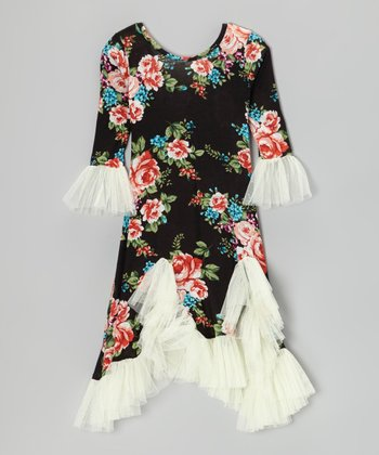 Black & Crème Floral Flamenco Ruffle Dress - Toddler