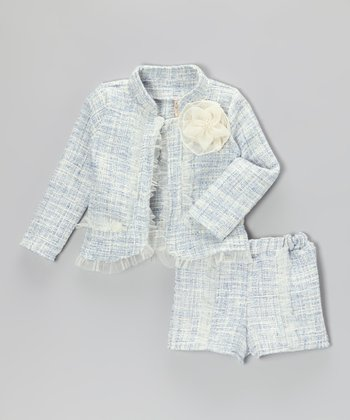 Blue & Crème Tweed Jacket & Shorts - Toddler & Girls