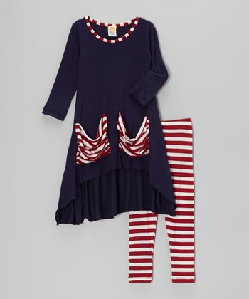 Navy & Red Stripe Candy Cane Tunic & Leggings - Toddler & Girls
