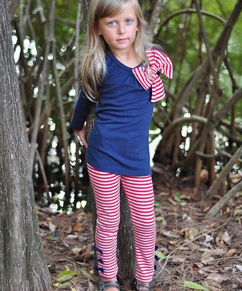 Navy & Red Bow Tunic & Leggings - Toddler & Girls