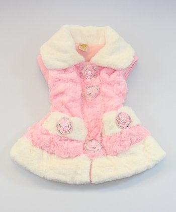 Pink & White Faux Fur Rosette Vest - Toddler