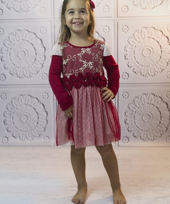 Mia Belle Baby Red Lace Ruffle Layered Dress - Toddler
