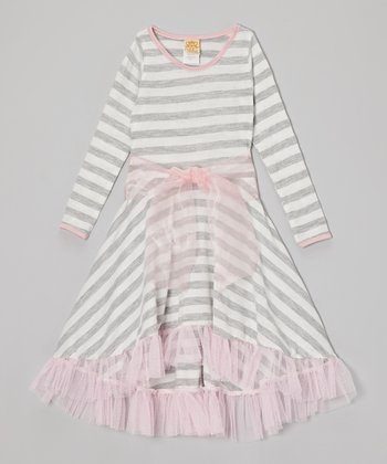 Gray & Pink Stripe Twirl Dress - Toddler & Girls