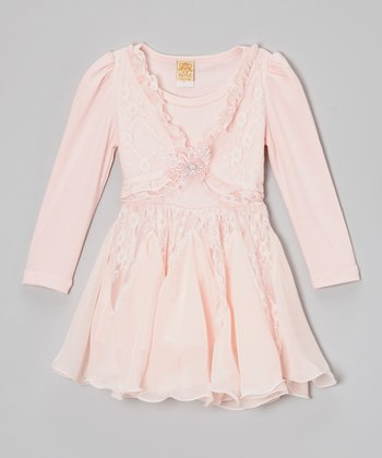 Pink Lace Butterfly Ruffle Dress - Toddler