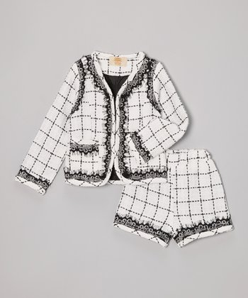 White & Black Tweed Jacket & Shorts - Toddler & Girls