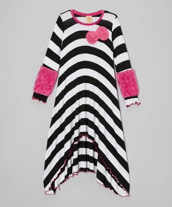 Black & White Stripe Furry Cuff Dress - Toddler & Girls
