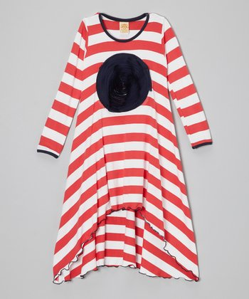 Red & White Stripe Flower Sidetail Dress - Toddler & Girls