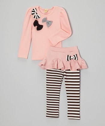 Pink Bow Top & Stripe Skirted Leggings - Toddler