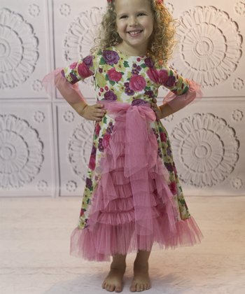 Pink Floral Ruffle Princess Dress - Toddler & Girls