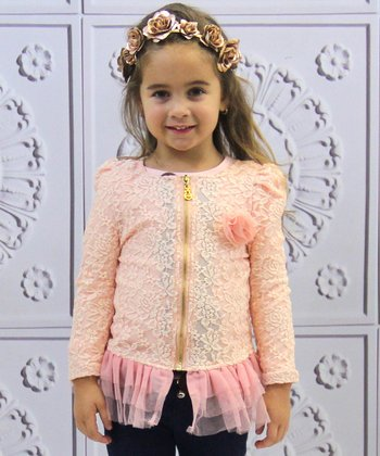 Pink Lace Floral Jacket - Toddler & Girls