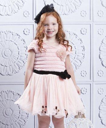 Mia Belle Baby Pink Faux Fur & Tulle Rosette Dress - Toddler & Girls